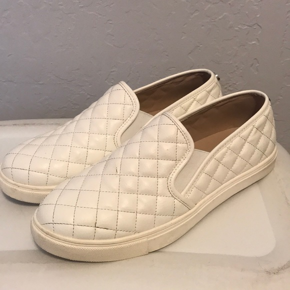 Steve Madden White Quilted Shoes